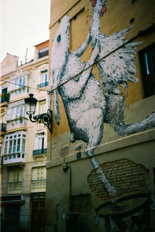 Traditional rabbit and chicken paella graffiti